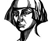 Russian poet Marina Tsvetaeva linocut portrait