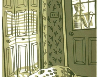 MONDAY AFTERNOON. LAUNDRY reduction color linocut