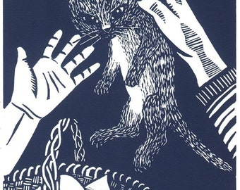 LEAVING THE BASKET linocut by Lev