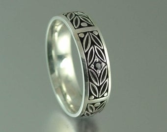 size 9.75 Ready to ship - EVERGREEN LAUREL silver wedding band with black spinel accent