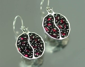 POMEGRANATE garnet silver earrings - Ready to ship