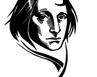 Joseph Brodsky portrait of Russian poet linocut