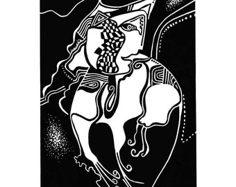 LONG NAILED CAT linocut from Fantasy Creatures Series