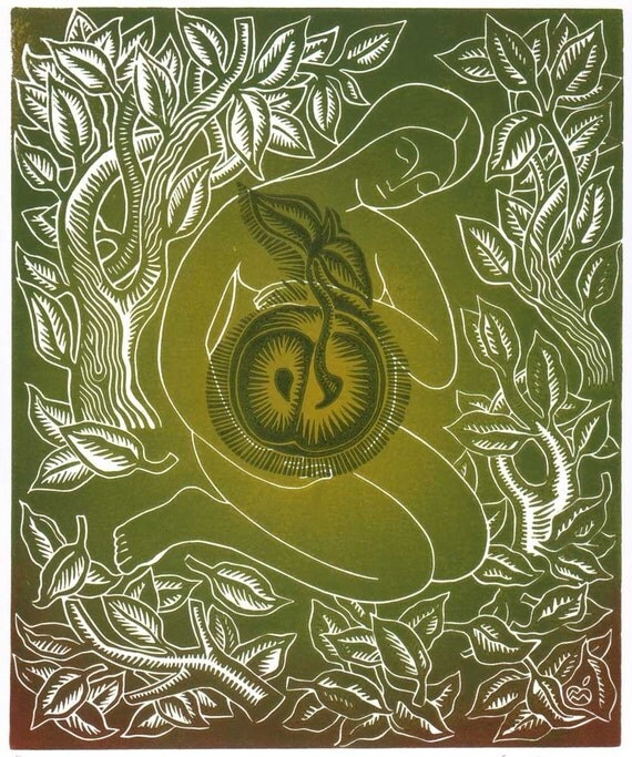 EVE linocut - pregnancy baby shower gift idea