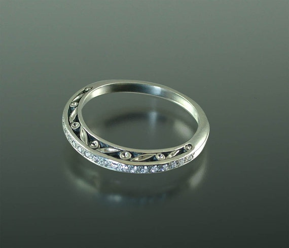 THE ENCHANTED Wedding Band 14k gold and White sapphires
