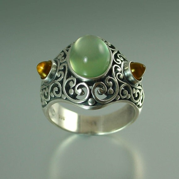 SOGDIANA silver ring with Prehnite and Citrine