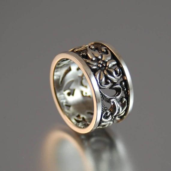 FLORAL Art Nouveau silver ring