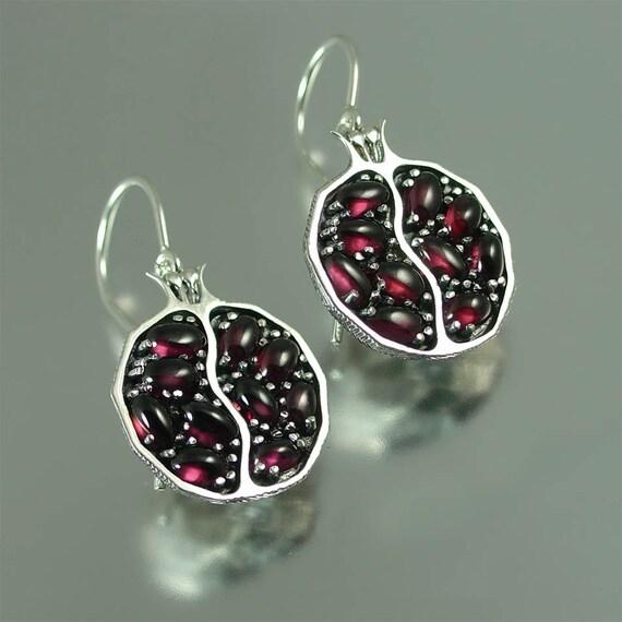 POMEGRANATE garnet silver earrings