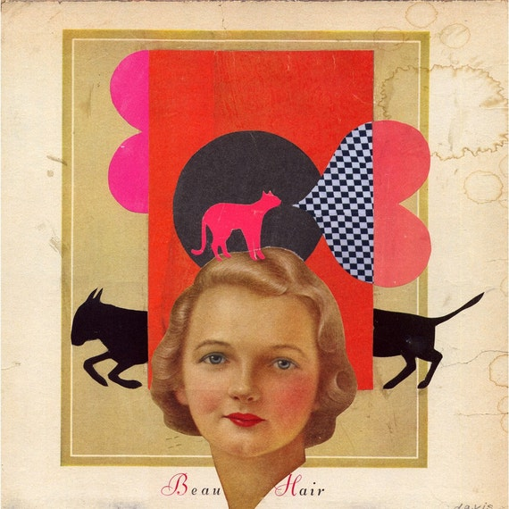 beautiful hair - original collage - mixed media art