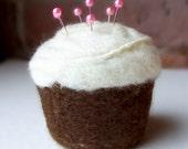 Pincushion - Cupcake, Felted Wool, Chocolate and Vanilla