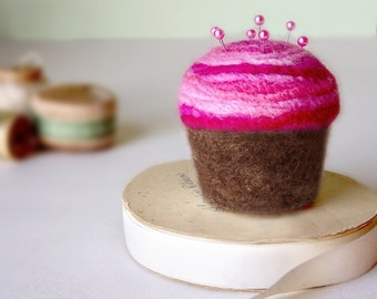 Pincushion - Felted Cupcake, Chocolate with Strawberry Swirl