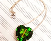 Heart Of Oz - Large Green Heart Shaped Crystal Pendant Necklace - Available In SIlver or Gold