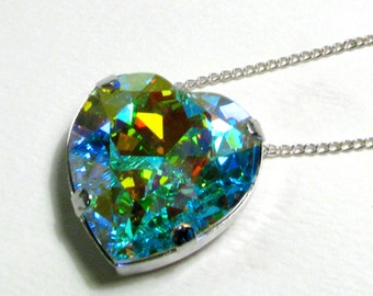 Galactic Heart - Large Aurora Borealis Heart Crystal Necklace in Silver - Magical Space Gem