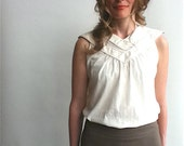 Sleeveless Blouse, Sheer Silk-Cotton Pull-Over in Off-White, Black or Green, Sizes Extra-Small, Small, Medium, Large