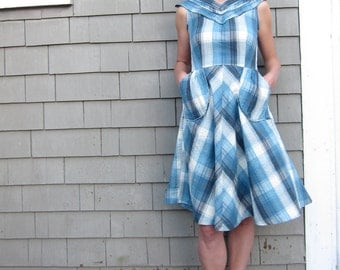 Plaid Dress in Blue, Size Small, Medium, Large, Extra Large