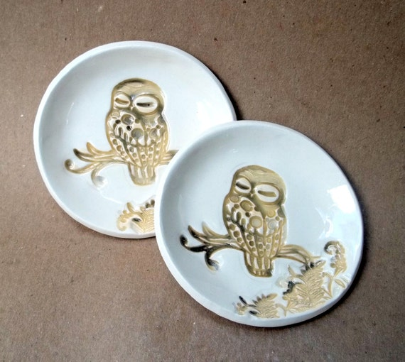 Ceramic Set of TWO Tiny Owl Ring Bowls Tea bag holders