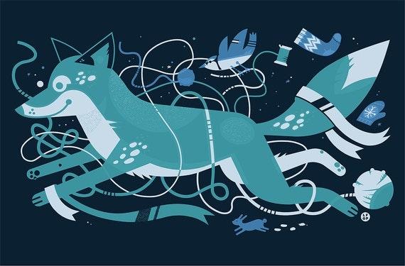 Blue Winter Fox with Bird and Rabbit Screenprint Art Print - Bunny Yarn Craft Mitten Silkscreen Poster - Good for Kids Rooms & Nursery