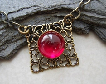 Art Deco Filigree Necklace, Berry Hue, Filigree Victorian Style Necklace, Ruby Gemstone, Brass Jewelry, Square Necklace