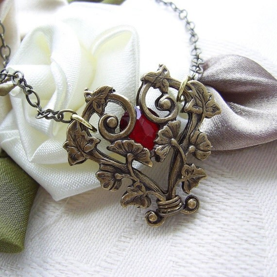 Art Nouveau Filigree Vine Necklace With Vintage Ruby Red Glass Stone