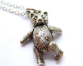 """Little Bear Necklace // Sterling Silver 925 Charm // Moveable // 16"""" Sterling Silver Chain // Goldilocks Inspired"""