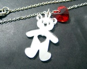 "You Stole My Heart Necklace // Silver Mirror Acrylic Bear with Heart Cutout // Red Swarovski Crystal Heart // 17"" Silver Chain"