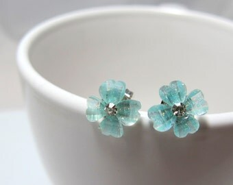 Aqua Green Cherry Blossom with Rhinestone Stud Earrings // Aqua Green Rhinestone Centre Flower // Rhodium Posts // Gifts under 10