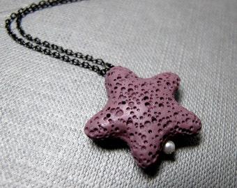 "Lava Rock Star Necklace // Purple Lava Rock // White Freshwater Pearl // 17"" Gunmetal Chain Necklace"