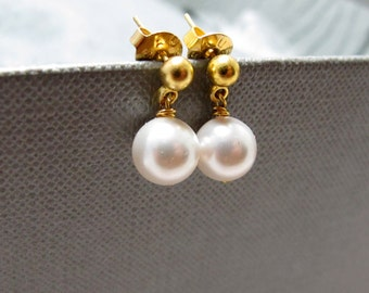 Gold Pearl Bridal Stud Earrings // White Swarovski Pearls // Gold Plated Posts // Gift under 15