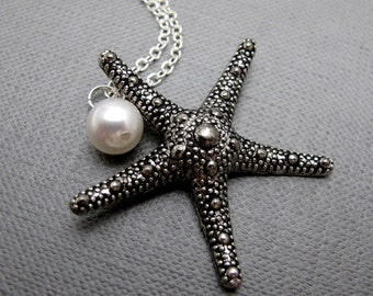 """A Starfish and A Pearl Necklace // Silver Starfish Charm // White Swarovski Pearl // 17"""" Silver Chain Necklace // Bridal Jewelry"""