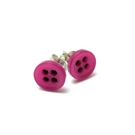 Bubble Gum Pink Button Stud Earrings // Violet Pink // Gift Under 10 // Last Piece