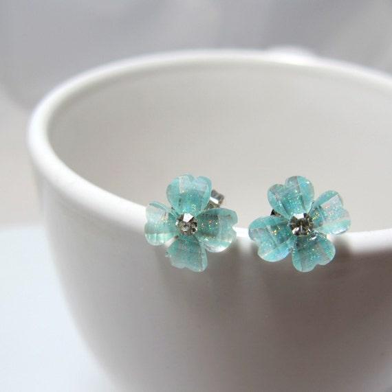 Aqua Green Cherry Blossom with Rhinestone Stud Earrings // Aqua Green Rhinestone Centre Flower // Rhodium Posts // Gifts under 10