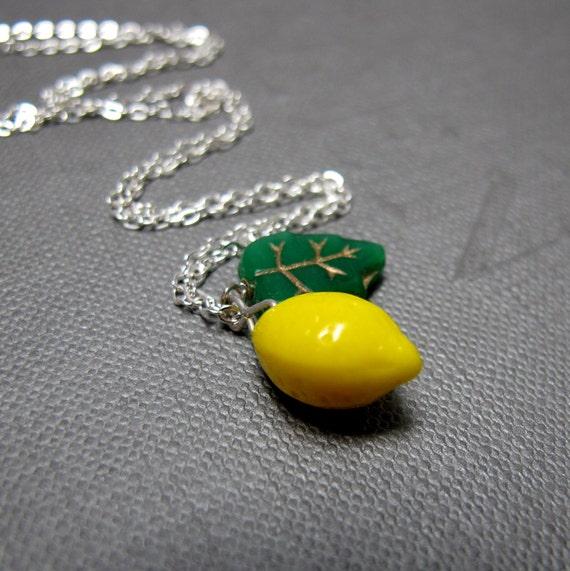 """FLAWED - Lemon Tree Necklace // Yellow Lemon Czech Glassbead // Green Leaf Glassbead // 17"""" Silver Chain"""