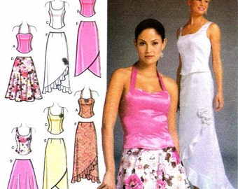Misses Evening Halter Tops Skirts Purse Simplicity 4990 Sewing Pattern Size 6 - 8 - 10 - 12 Bust 30 1/2 - 31 1/2 - 32 1/2 - 34 UNCUT