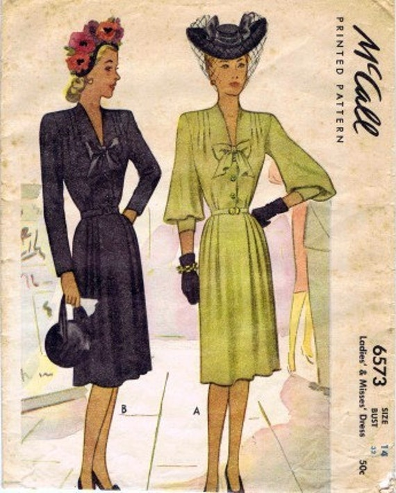 1940s McCall 6573 Misses Dress Tucks Front Buttons V Neckline Barrel Cuffs Womens Vintage Sewing Pattern Size 14 Bust 32