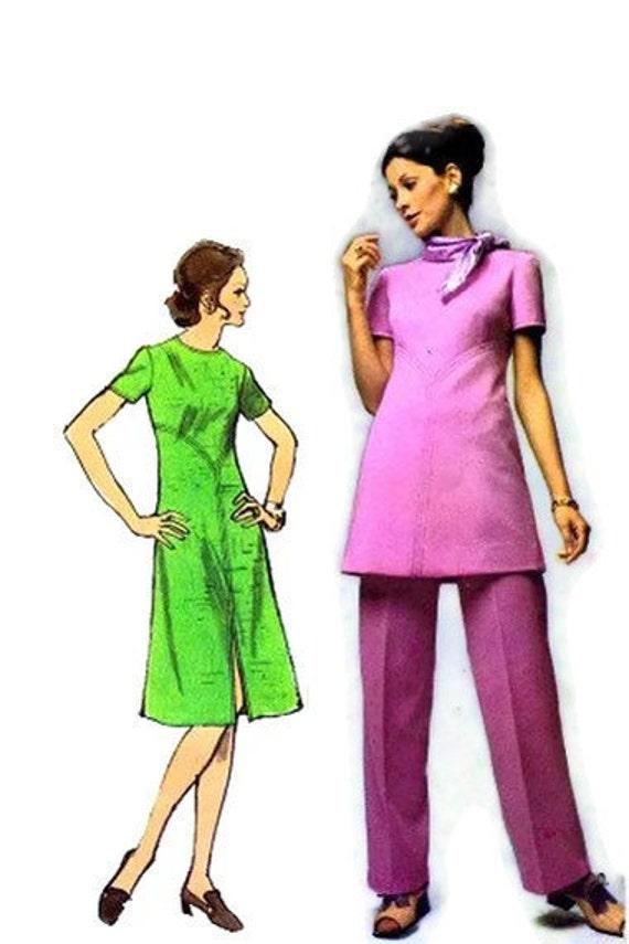1970's Simplicity 9358 Vintage Sewing Pattern Designer Fashion Dress Tunic Pants Size 10 Bust 32 1/2