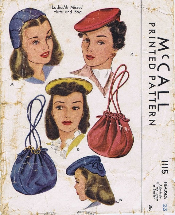 """1940s Womens Hats Pattern Bag Purse Beret McCall 1115 Vintage Sewing Pattern Size 23"""""""