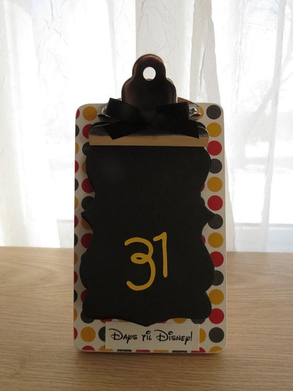 Vacation Countdown Clipboard - Days til Disney - Big Mickey Polka Dots