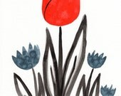 Watercolor Painting: Watercolor Flower Painting -- Art Print -- Scandinavian Flowers in Red and  Navy -- 8x10