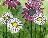 Watercolor Painting: Watercolor Flower Painting -- Mini Art Print -- Pink Flower, White Flower -- ACEO Print