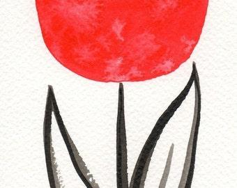 Watercolor Painting: Watercolor Flower Painting -- Mini Art Print -- Red Scandinavian Tulip -- ACEO Print