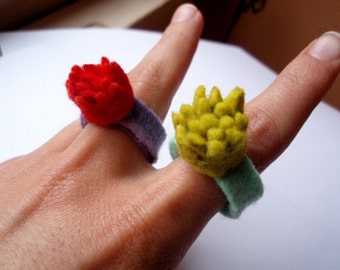 Felted Crown Ring . Blue and Yellow-Green
