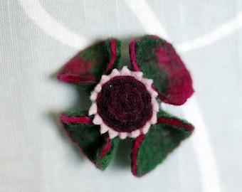Wool Felt Flower Pin. Deep Green