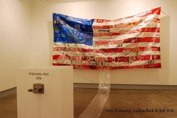 Upcycled Plastic Bag American Flag