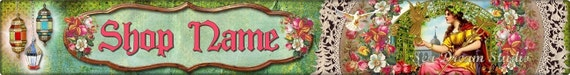 Beautiful Vintage Goddess and Lanterns Etsy shop banner and avatar OOAK by Sea Dream Studio