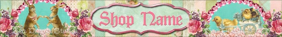 Sweet Bunnies and Chicks Vintage Easter Style Shop Banner by Sea Dream Studio one of a kind
