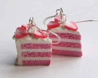 Strawberry Tea Layer Cake Earrings