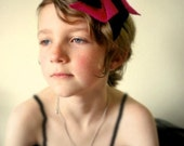Colorful Felt Pinwheel Headband in Magenta and Black with Buttons for Women or Children- Choose Metal or Plastic Headband