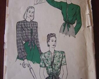 Vintage 40s Butterick 3889 Womans Drawstring jacket Pattern sz 14 Bust 32 UNPRINTED