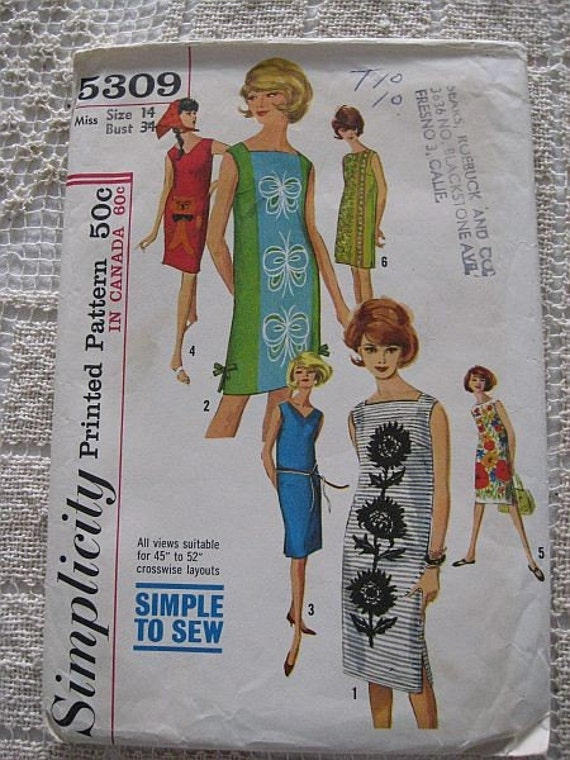 Vintage 60s Simplicity 5309 One Piece Dress with 3 Necklines sz 14 B34