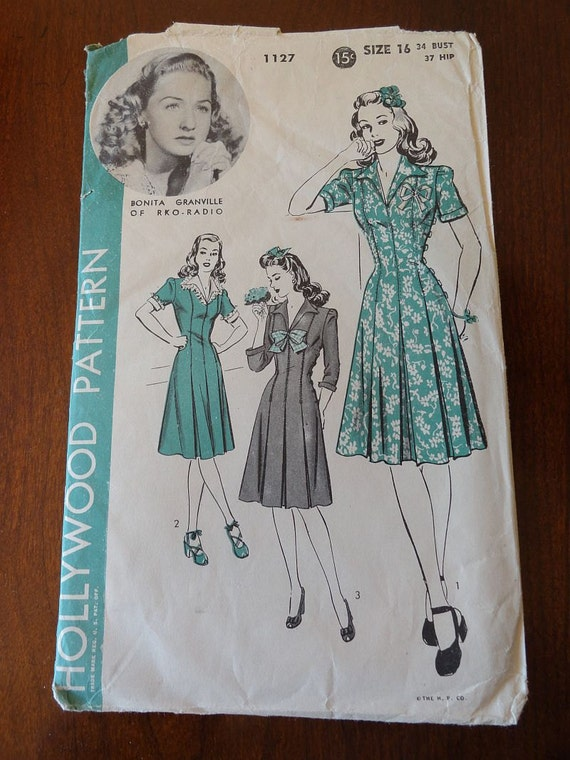 Vintage 40s Hollywood Pattern 1127 Bonita Granville Princess Dress pattern size 16 B34